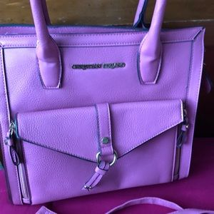 Pink Christian Siriano handbag with separate pouch